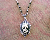 Steampunk Womens Lolita Skull Cameo Necklace Day of the Dead