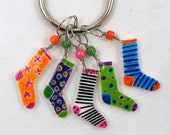 crazy socks stitch markers, snag free, colorful knitting accessory, fun gift for knitters