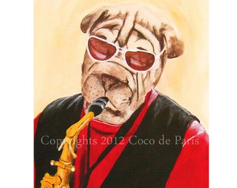 Musician Bulldog Painting, Acrylic Painting, Dog Art, Gold, Bulldog Poster, Bulldog Wall Art, Christmas Gift, Watercolor, Oil Painting, Jazz