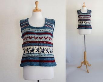 Alpaca Vest / Vintage Alpaca Vest / Peruvian Vest / Wool Vest / Knit Vest