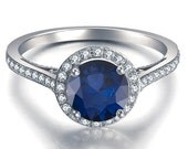 Blue Sapphire Engagement Ring 14k White Gold with Diamonds September Birthstone
