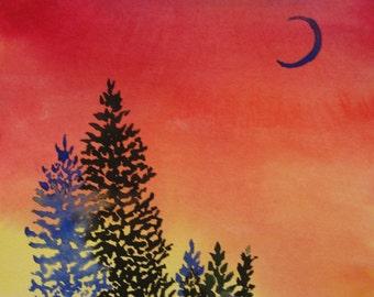 Pine tree sunset watercolor painting, Original watercolor painting, pine trees at sunset