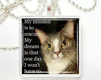 My mission is to rescue. My dream is that one day I won't hace to glass tile pendant