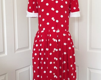 KARIN STEVENS Red White Polka Dot Dress 6