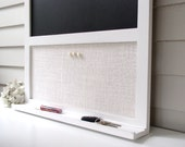 Magnetic Chalkboard Magnet Board Message Center 26.5 x 38.5 Bulletin Board Handmade Frame Ledge Shelf for Keys Chalk Pen Rustic Black White