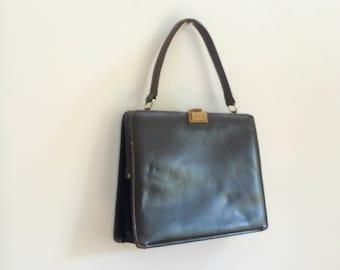 Vintage mid century black leather purse / handbag