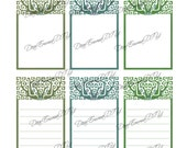 Art Nouveau Tree Tags INSTANT DOWNLOAD, printable graphic clipart - Green Trees for Tags, Scrapbooking, Weddings, Well Wishing Cards