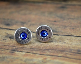 Bullet Earrings Shell Stud Earrings ~ Winchester 45 Colt Bullet Casings Post/Stud Earrings ~ Nickel Plated with Sapphire Gems ULTRA THIN