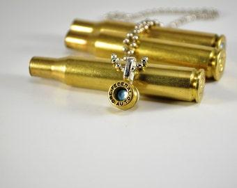 Bullet Necklace ~ Shell Casing 380 ~ Aquamarine Swarovski Gem Pendant Necklace