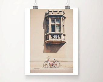 red bicycle photograph cambridge photograph window photograph architecture photograph red bicycle print cambridge print