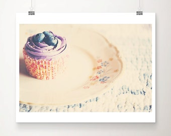 cupcake photograph food photography kitchen wall art blueberry photograph bakery decor still life photograph cupcake print cake photo