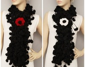 Mulberry scarf  ,Pompom scarf ,cocoon scarf with removable  crochet brooch , black . CHOOSE YOU FLOWER