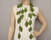Crochet leaf  jewelry ,crochet lariat necklace , crochet necklace