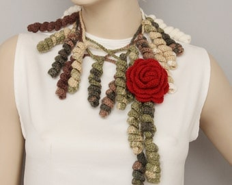 Dark red  rose crochet flower jewelry scarf -,crochet scarf  ,crochet necklace ,with  removable flower brooch