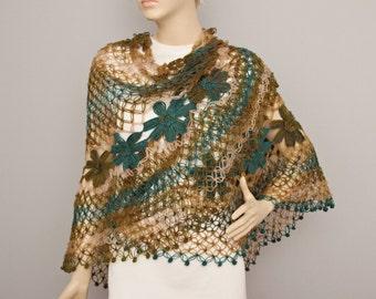 Crochet shawl scarf , crocheted shrug capelet wrap,Bridesmaid gift ,teal brown