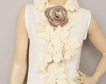 Ivory crochet  ruffle scarf
