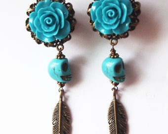 "11mm 7/16"" Dangle Plugs Leviathan -  turquoise skull haunted boho bohemian tribal pretty316L"