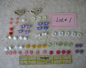 Lot #1 BUTTONS for doll sewing, children, scrapbooking, wide variety of colors and shapes bows hearts flowers stars daisies