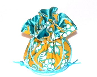 Drawstring Jewelry Bag Pouch - Jewelry organizer  -  Orange-yellow and Turquoise blue floral travel bag