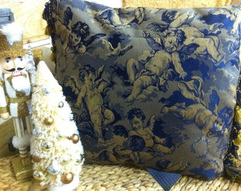 Blue and Gold Decorative pillow on Sale,act fast!      Blue Throw  Pillows