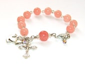 Rosary Bracelet Pink Jade with Dove, Catholic Rosary for the Wrist