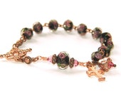 Catholic Bracelet, A Wee Rosary for Your Wrist in Lampwork Glass & Copper