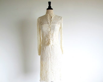 Vintage Lace Suit, Bridal Suit, 1980 Ivory Lace 2 Piece Dress, Lacey Wedding Suit