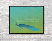 People Will Stare Peacock Art Print Typographic Peacock Print Wall Art Teal Green Blue Typography Print Be Yourself Ombre Art