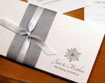winter wedding invitation - silver and white snowflake invitation (customisation available) - sample