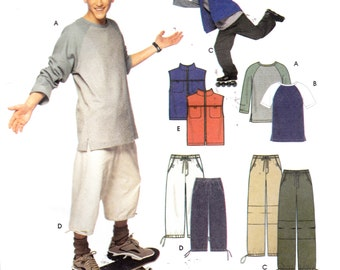 "Teen Boy's T-Shirt Zippered Vest Cropped or Long Pants Activewear Simplicity 9141 Chest 35-44"" Sizes S-M-L"