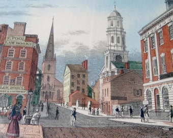 Vintage New York City Framed Litho Print: Wall Street Scene, Custom House Color Print