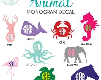 "Animal Monogram Vinyl Decal 2""-6"""
