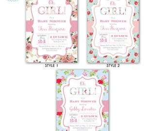 Vintage Floral Girl Baby Shower Invitation