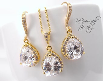 Gold Bridal Earrings White Crystal Teardrop Bride Necklace Wedding Jewelry Cubic Zirconia Wedding Earring Bridesmaid Gift Bridal Accessories