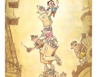 watercolor and ink The Boxtrolls inspired illustration  'How Many Boxtrolls Does It Take?'- 5x7 inch print