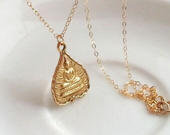 Buddha Lotus Leaf Necklace. Gold Buddha Necklace. Gold Lotus Leaf. Gold Buddha Pendant. Zen Buddhist Meditation. Yoga Jewelry