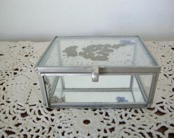 Vintage Jewelry Box,  Metal Glass Box, Jewelry Box,  Trinket Box,  Display Case
