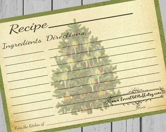 Printable Christmas Recipe Cards | 4x6 Blank Recipe Cards | 3x5 Recipe Template 3.5x5 | Hostess Gifts