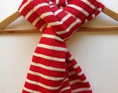 Scarf stole wrap -Red & White Nautical Sailor Breton stripe scarf-Cotton wool Mens Women luxury handwoven Ethiopian scarf- red scarves -