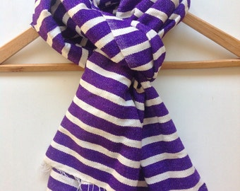 Purple and white wool scarf, wool cotton blend scarves and wraps,Gifts  for him or for her, handwoven stole wrap for winter fall - PURPLE