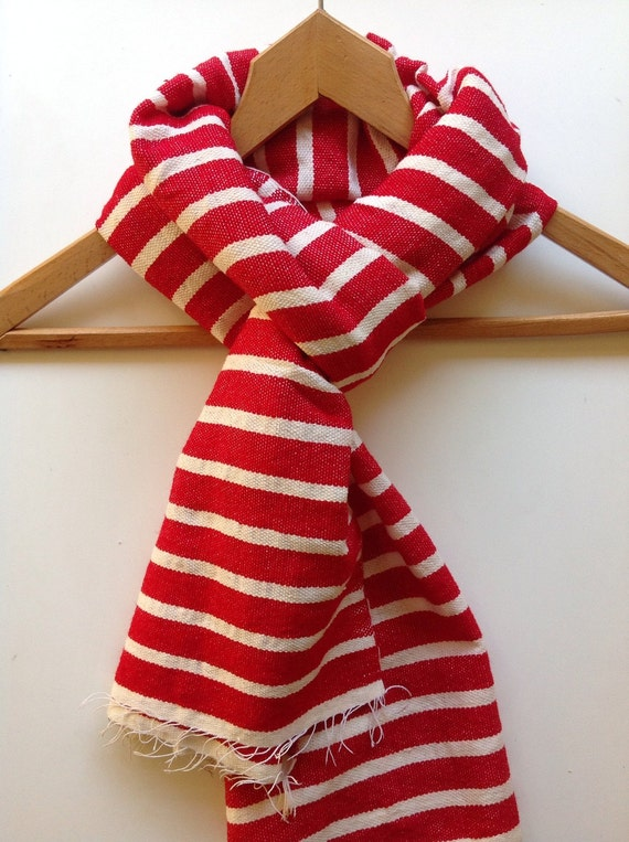 Scarf stole wrap -Red & White Nautical Sailor Breton stripe scarf-Cotton wool Mens Women luxury handwoven Ethiopian scarf- red scarves -