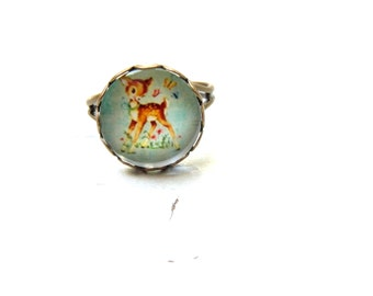 Baby deer Ring ,Vintage style Ring , Glass Dome Ring , Adjustable Ring , Bambi ring , Mint Ring , Photo Ring