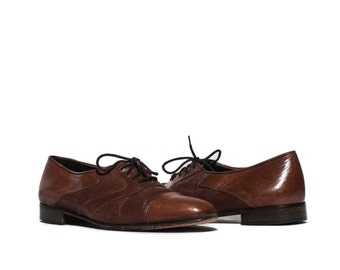 9 1/2 M  | Men's Vintage Bally Mesh Leather Lace Up Oxfords Brown Cap Toe Dress Shoe