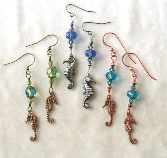 beaded seahorse earrings silver copper brass