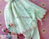 PDF Knitting Pattern for Babies Hooded Cape in a Scallop Design with Cosy Leggings.