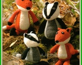PDF Knitting Pattern Woodland Foxes and Badgers Soft Toys - Instant Download