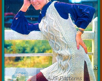 PDF Knitting Pattern for a Ladies Retro Aran Tabard Top - Instant Download