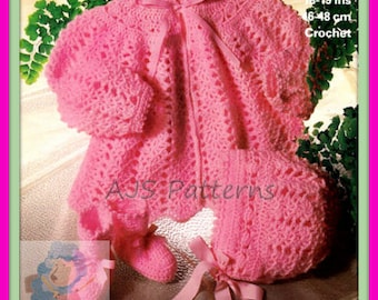Instant Download - PDF Crochet Pattern - Babies Matinee Coat, Bonnet & Bootees