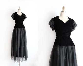 CLEARANCE vintage 1940s gown // 40s black velvet evening gown