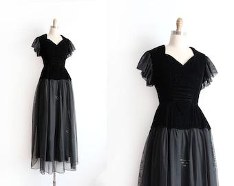 vintage 1940s gown // 40s black velvet evening gown
